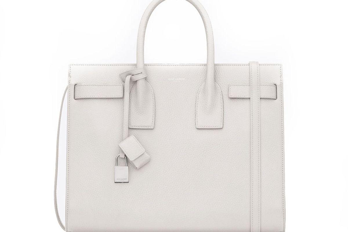 Classic Small Sac de Jour Bag in Dove White Grained Leather