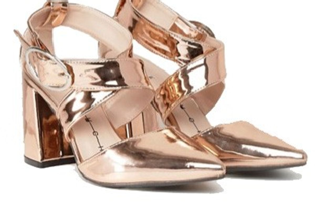The March Rose Gold Cross Strap Heeled Shoes