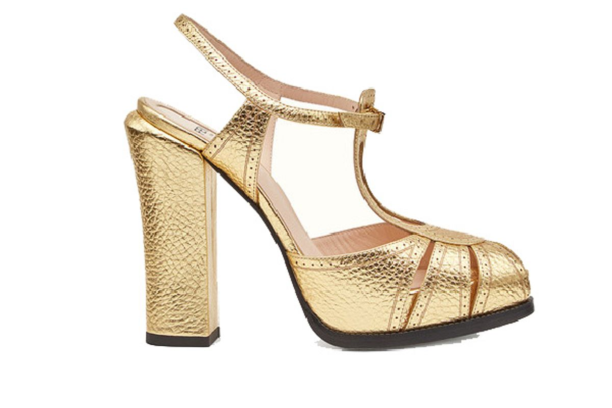 Gold laminated leather sandals