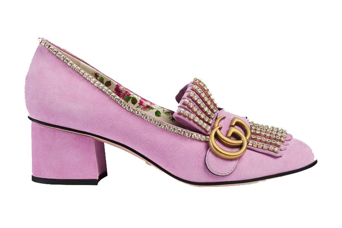 Suede mid-heel pump with crystals