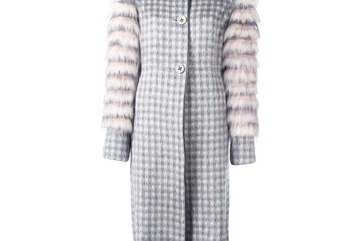 Fur Sleeve Jacquard Coat
