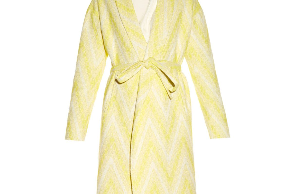 Chevron-Jacquard Tie-Waist Coat
