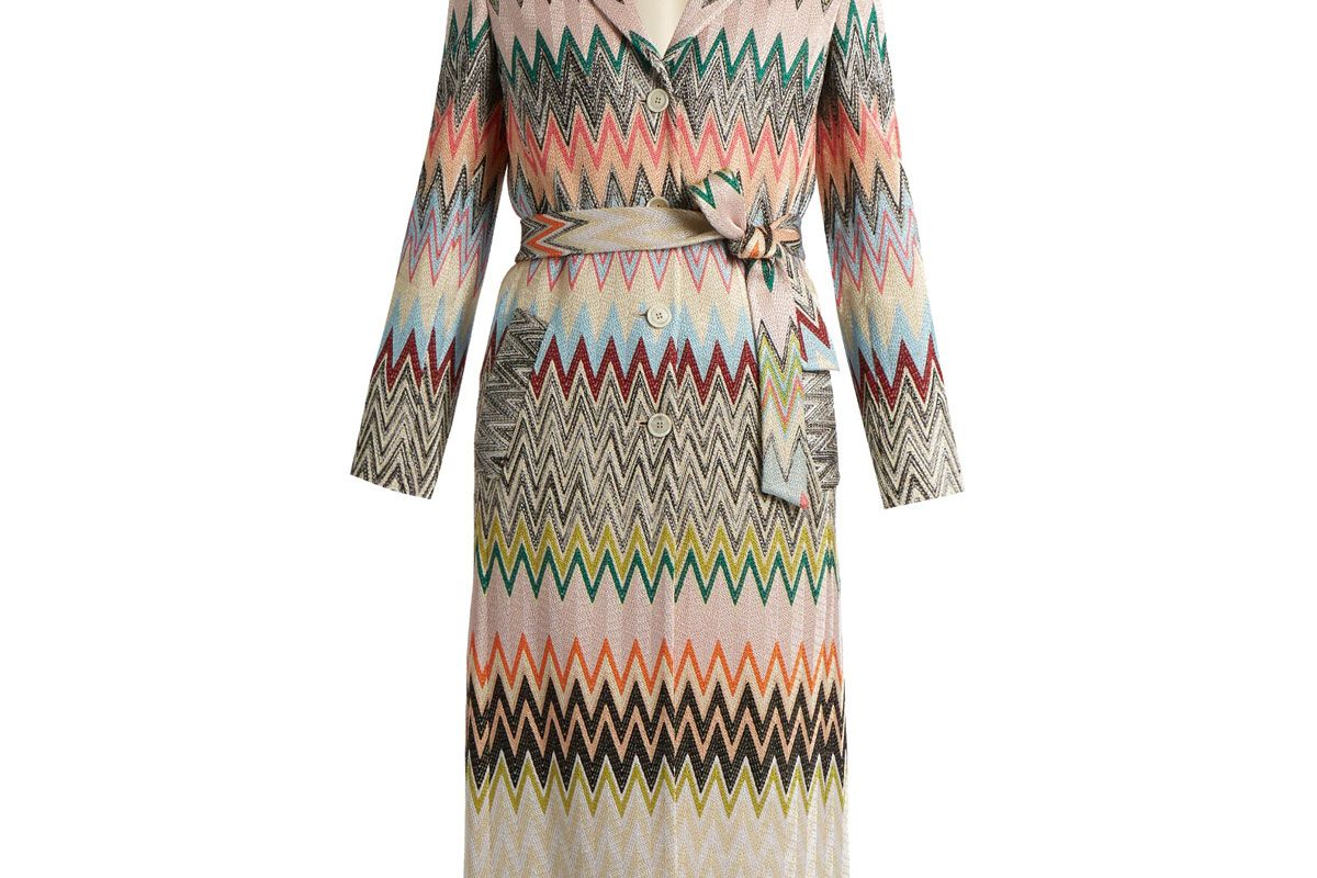 Single-Breasted Zigzag-Knit Trench Coat