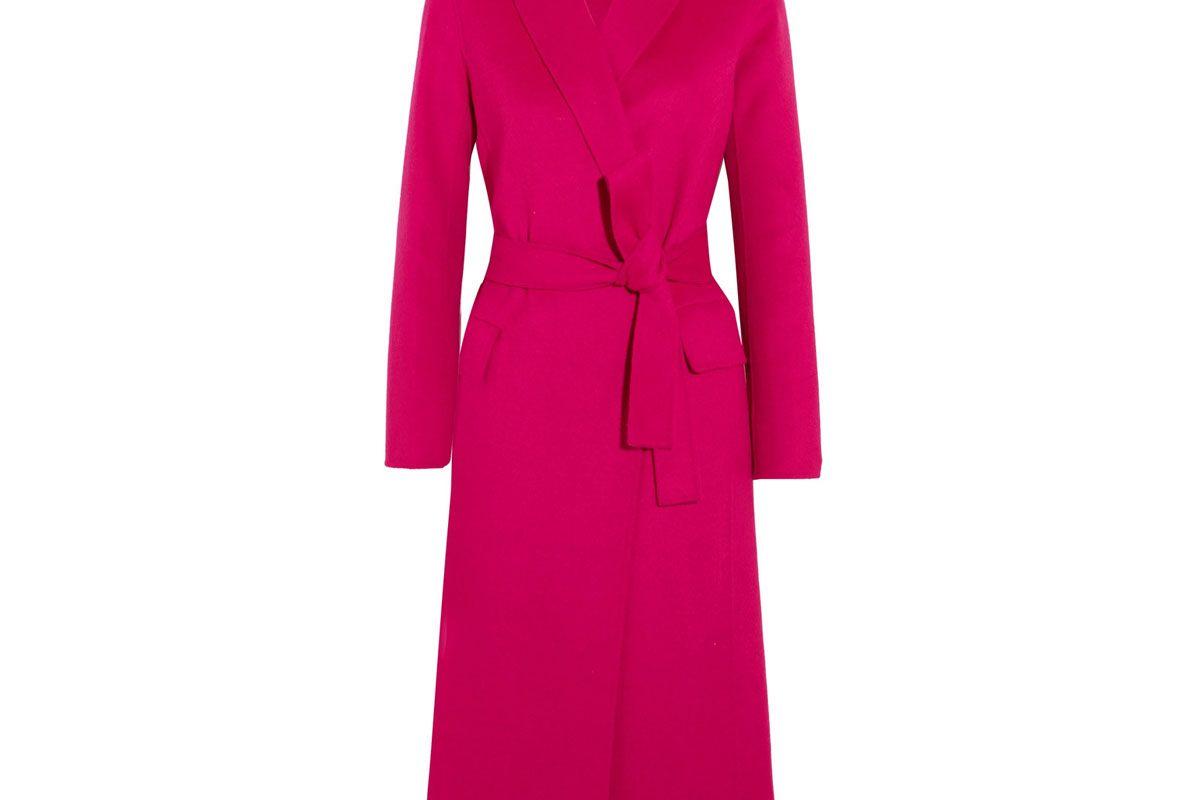 Belted Wool-Blend Felt Coat