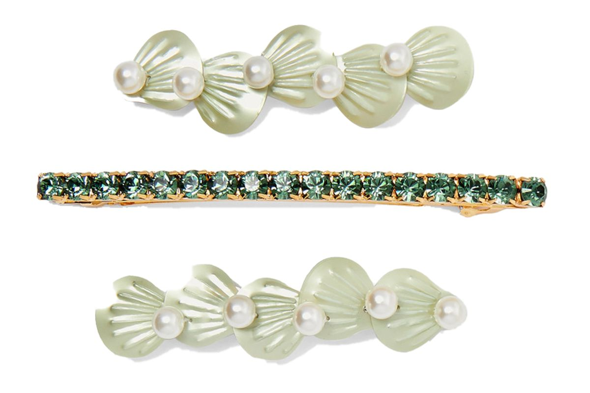 lelet ny seafoam set of three gold and silver tone faux pearl crystal and resin hair clips
