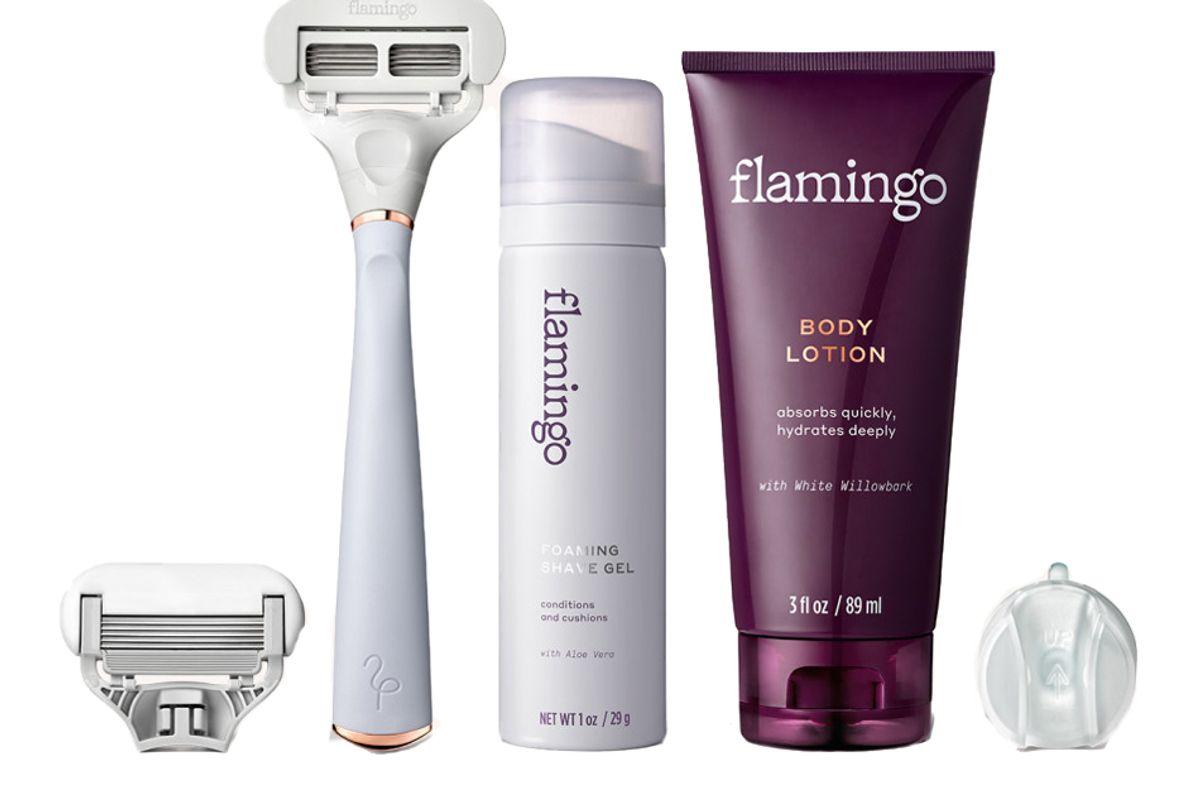 flamingo holiday shave set