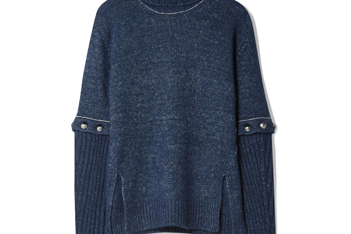 chloe convertible button detailed knitted turtleneck sweater
