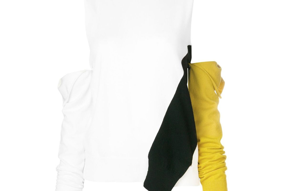 calvin klein 205w39nyc cold shoulder removable sleeve sweater