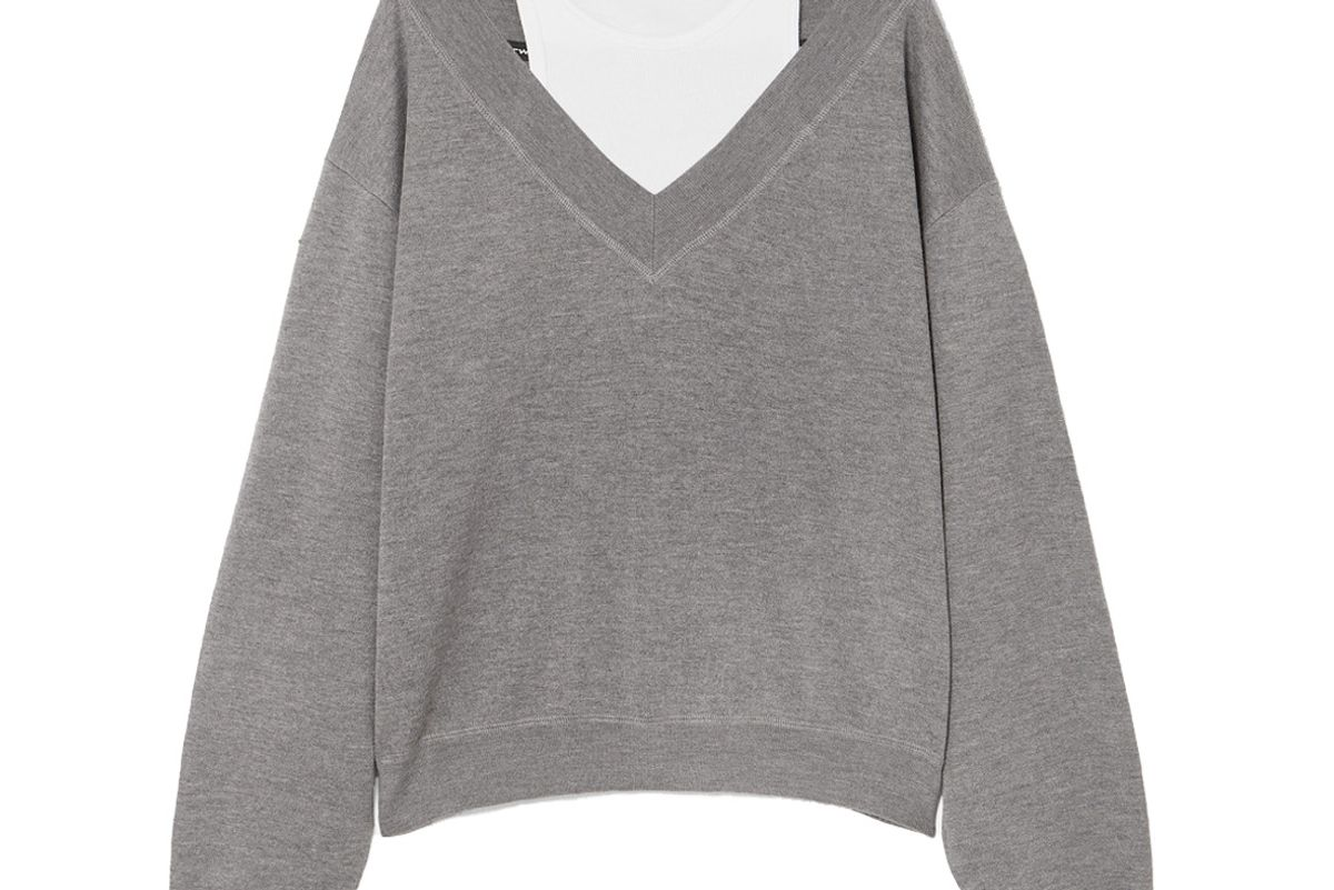 alexanderwang t cropped layered wool and stretch cotton jersey sweater