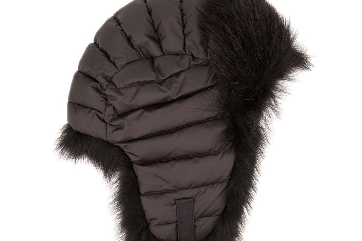 Fur-Trimmed Down-Filled Hat