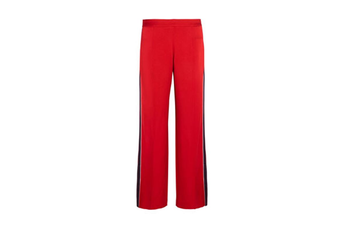 Frona Striped Satin Straight-Leg Pants