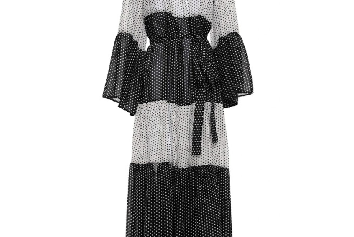 lisa marie fernandez belted polka dot two tone cotton voile maxi dress