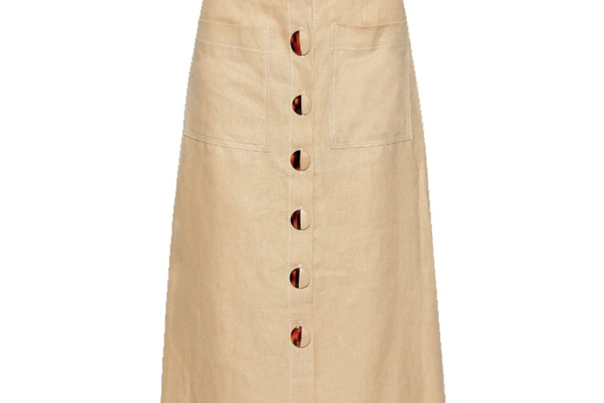nicholas button detailed linen midi skirt