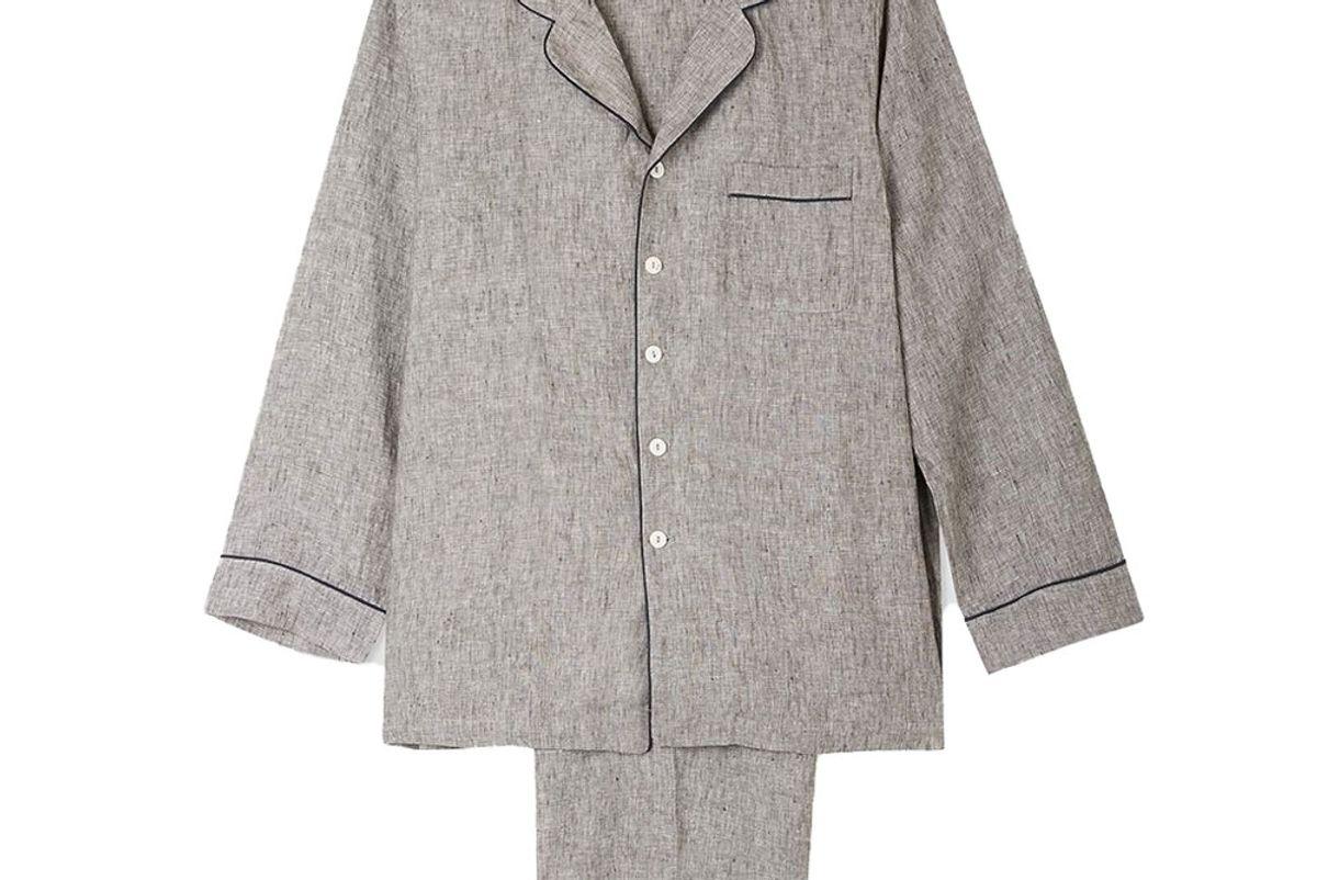 piglet mens gray linen pajama trouser set