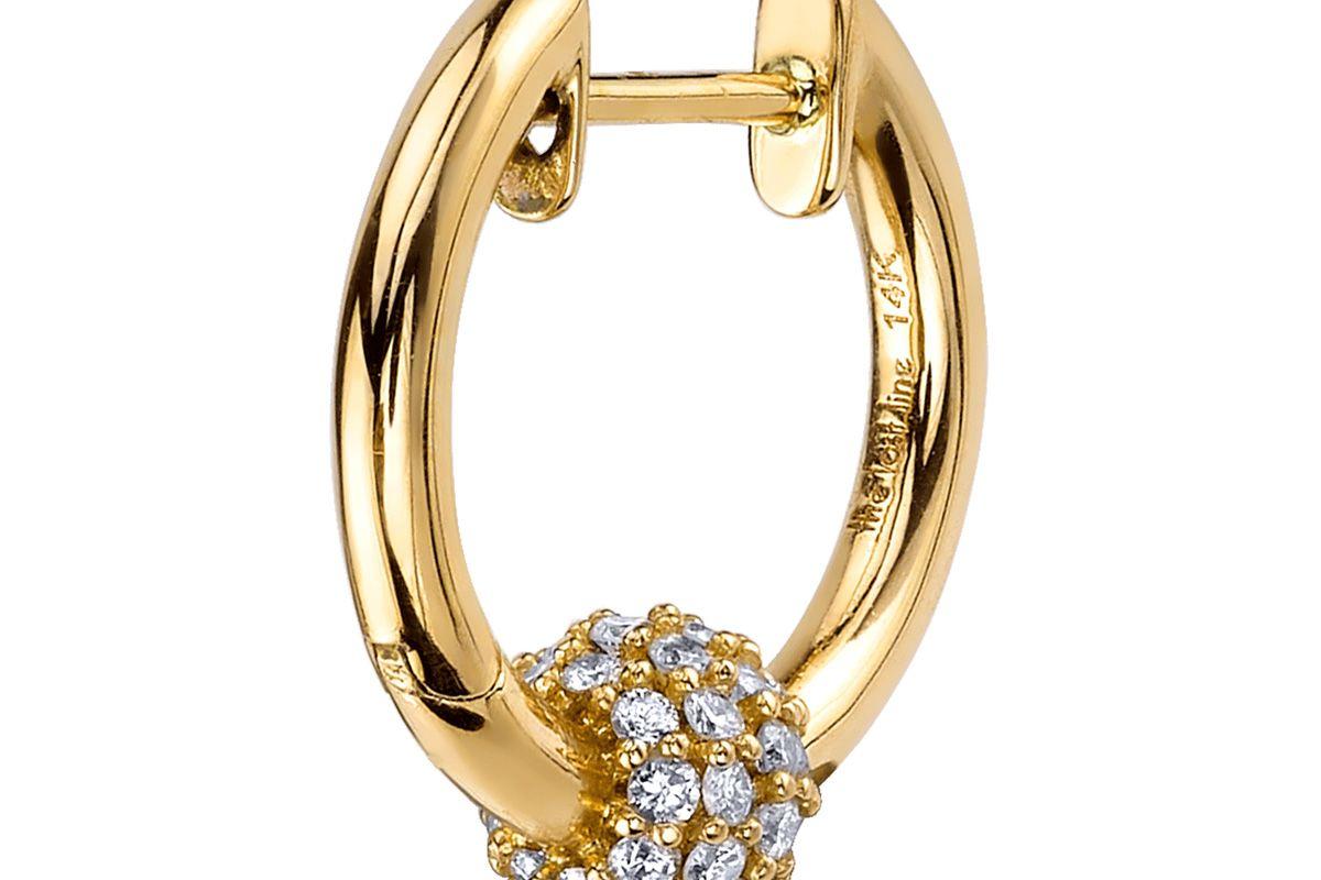 Diamond Sphere Hoop Earring