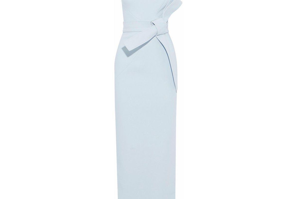 rachel gilbert sky blue juno one shoulder belted crepe gown