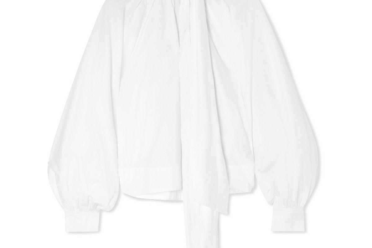 ganni tie detailed cotton poplin blouse