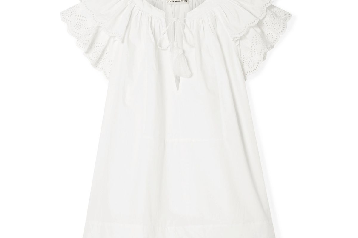 ulla johnson elm broderie anglaise trimmed cotton poplin blouse