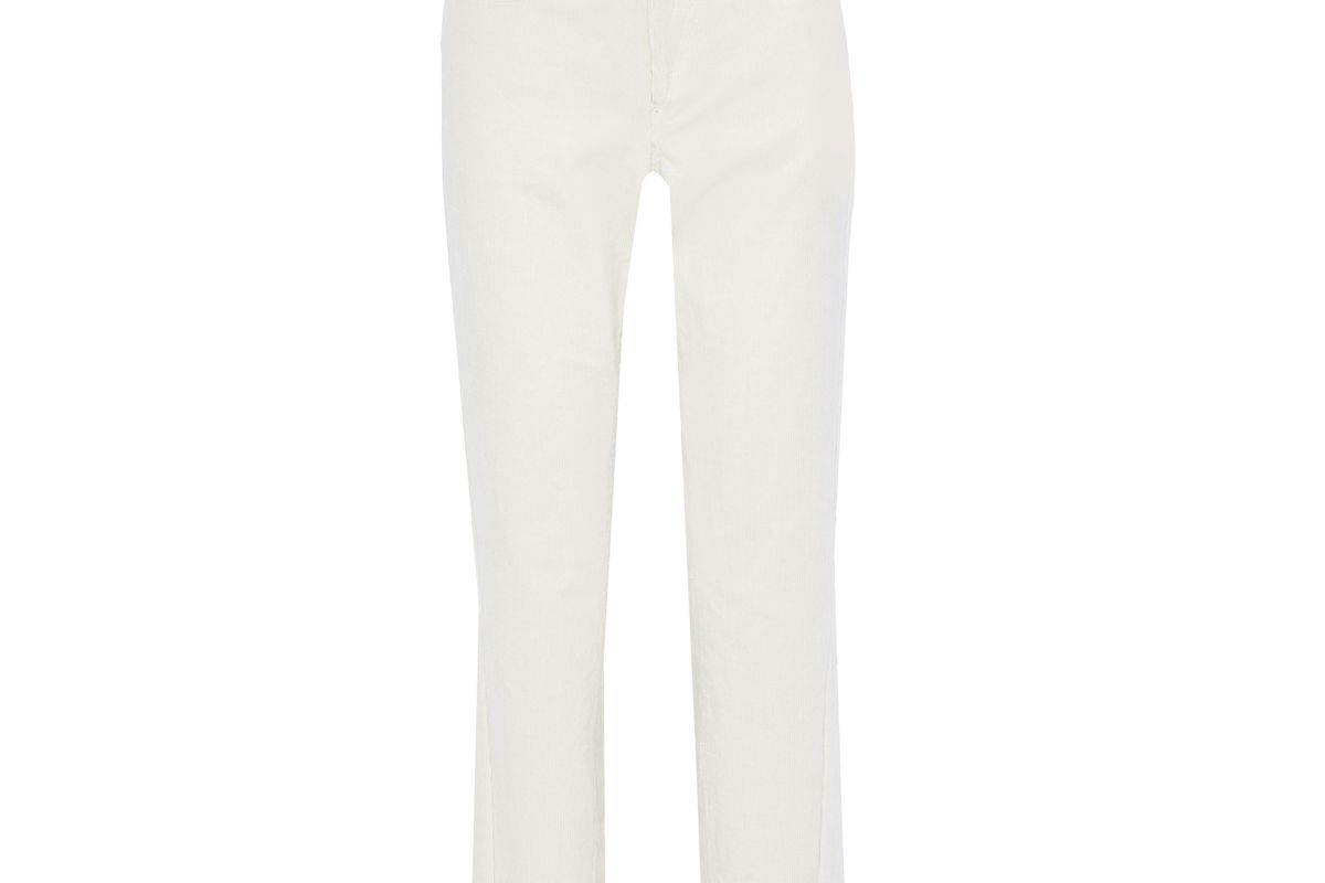 pushbutton stretch cotton corduroy straight leg pants
