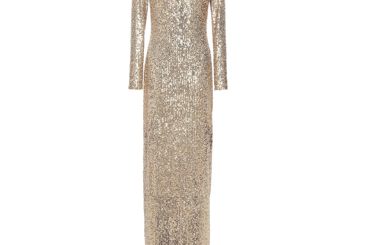 naeem khan sequined stretch tulle gown