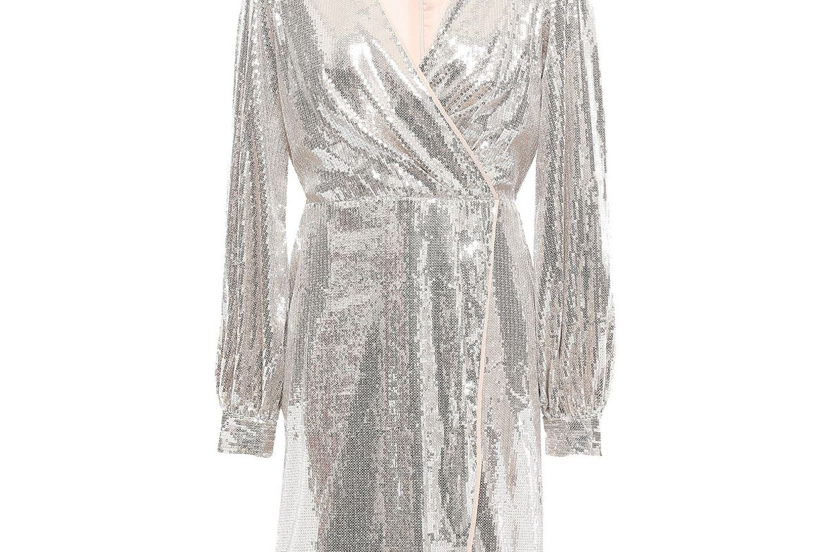 sachin and babi wrap effect sequined tulle mini dress