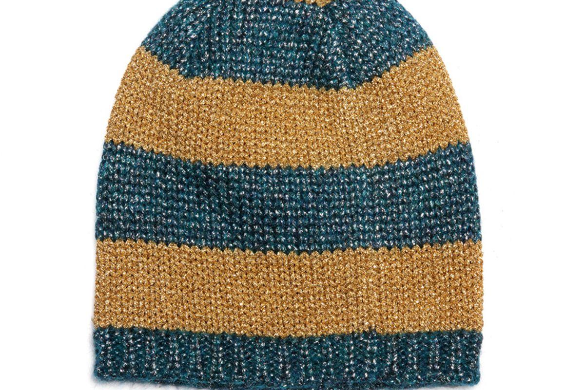 Knitted Metallic Striped Beanie Hat