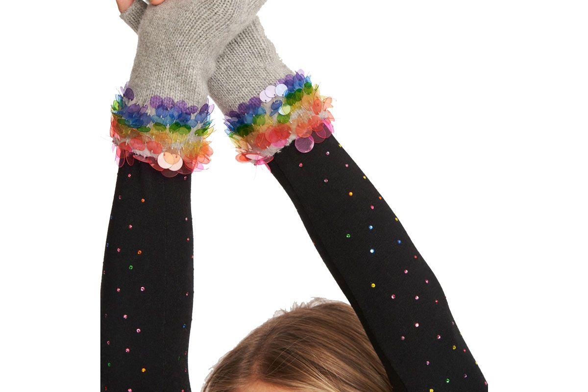 carolyn rowan fingerless glove with rainbow paillettes