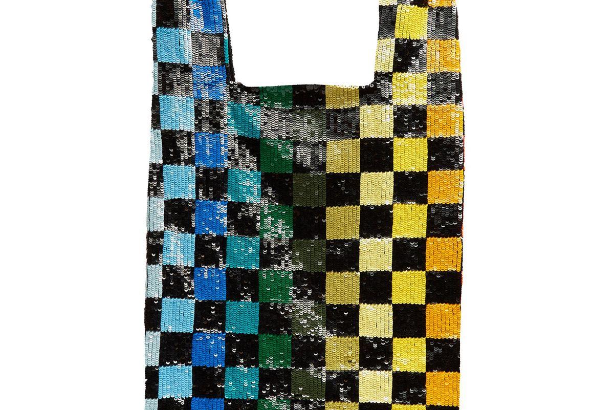 Checkerboard Sequin Embellished Bag