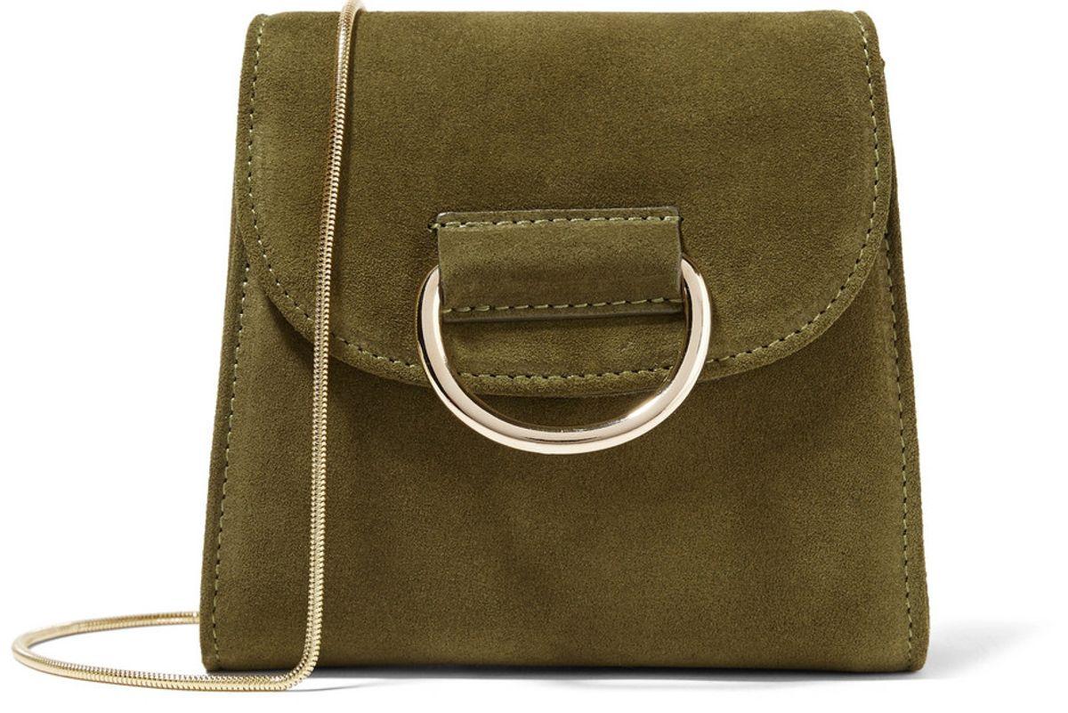 D Tiny Box Suede Shoulder Bag