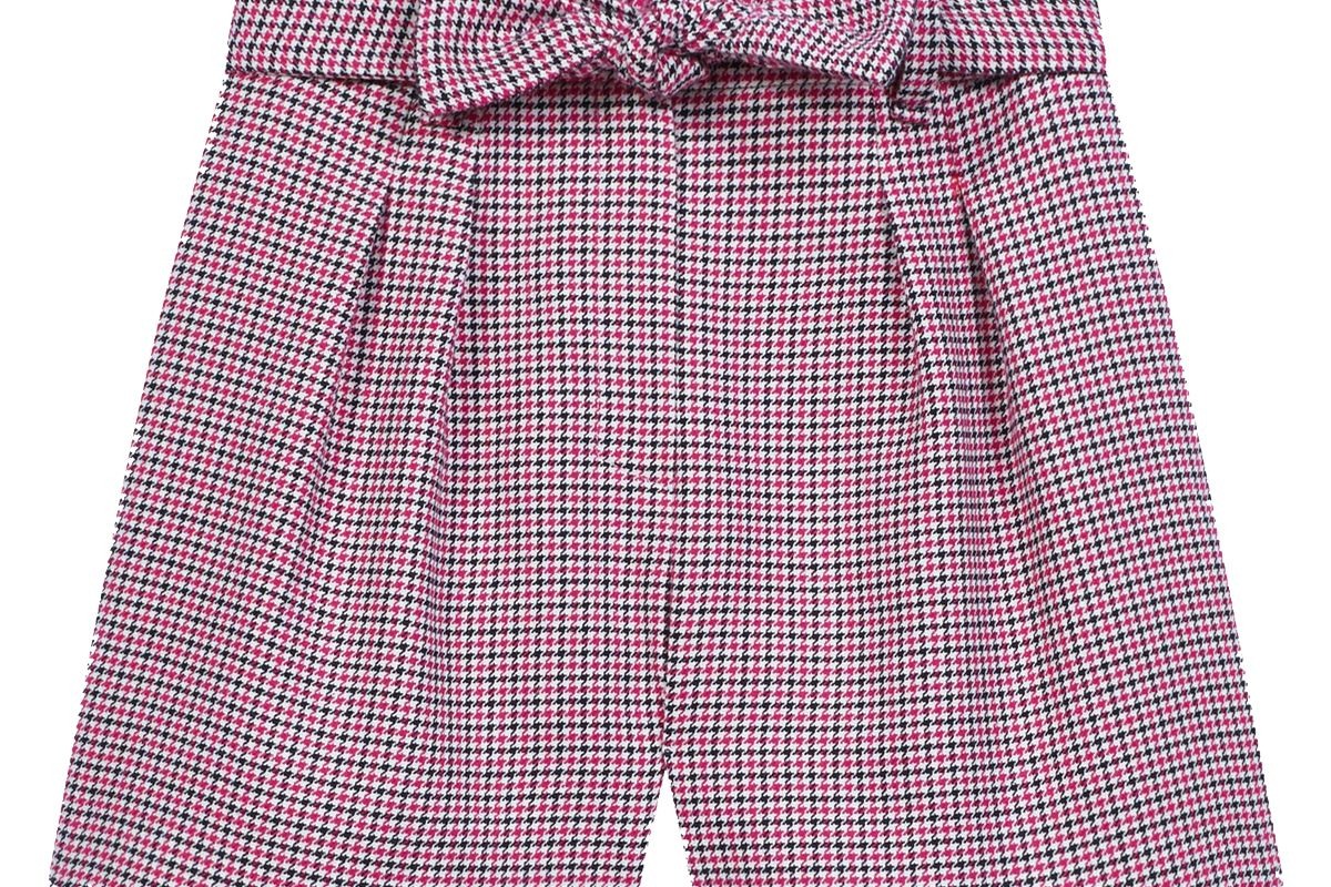 maje belted checked shorts