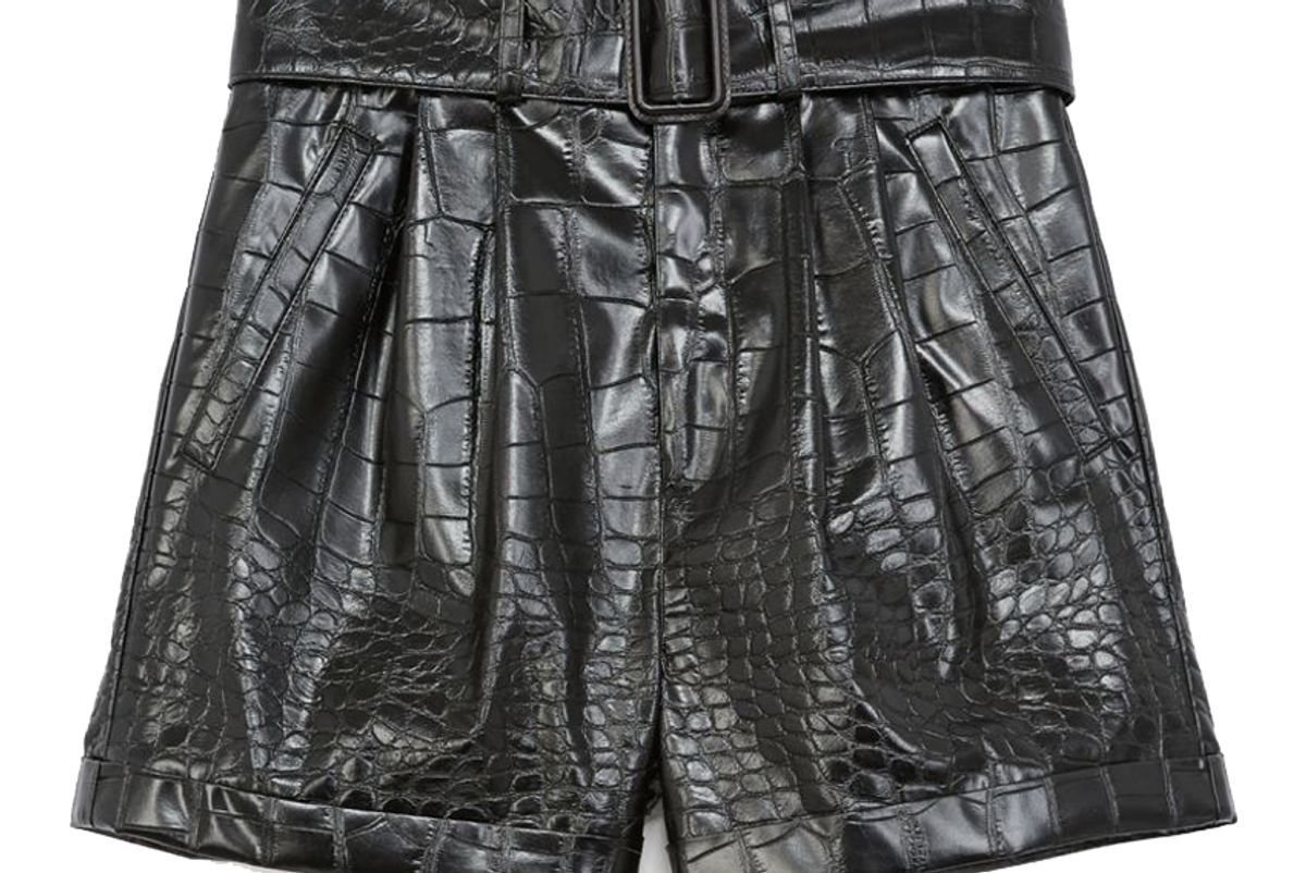 the kooples black crocodile print shorts with belt