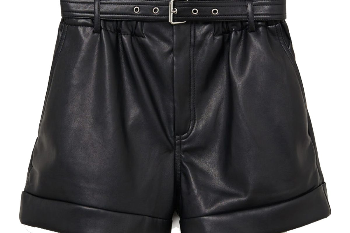 mango belted leather effect shorts