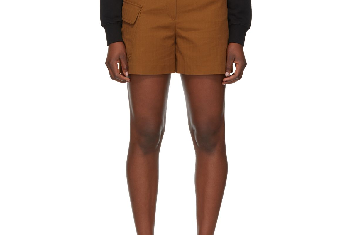 kenzo brown drill utility shorts