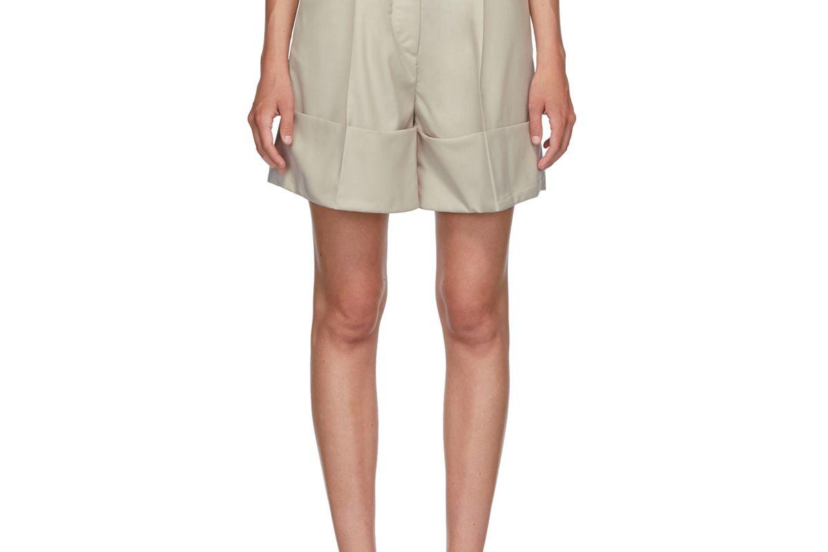 low classic beige cuffed shorts