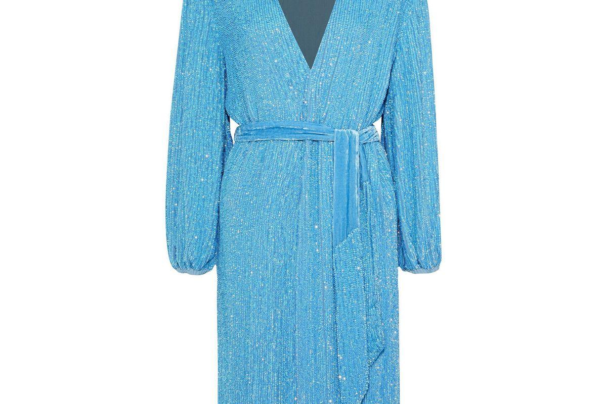 retrofete sequined chiffon wrap dress