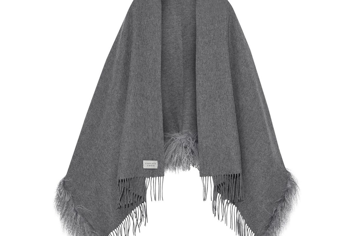 charlotte simone snug suzie fringed shearling trimmed brushed wool wrap