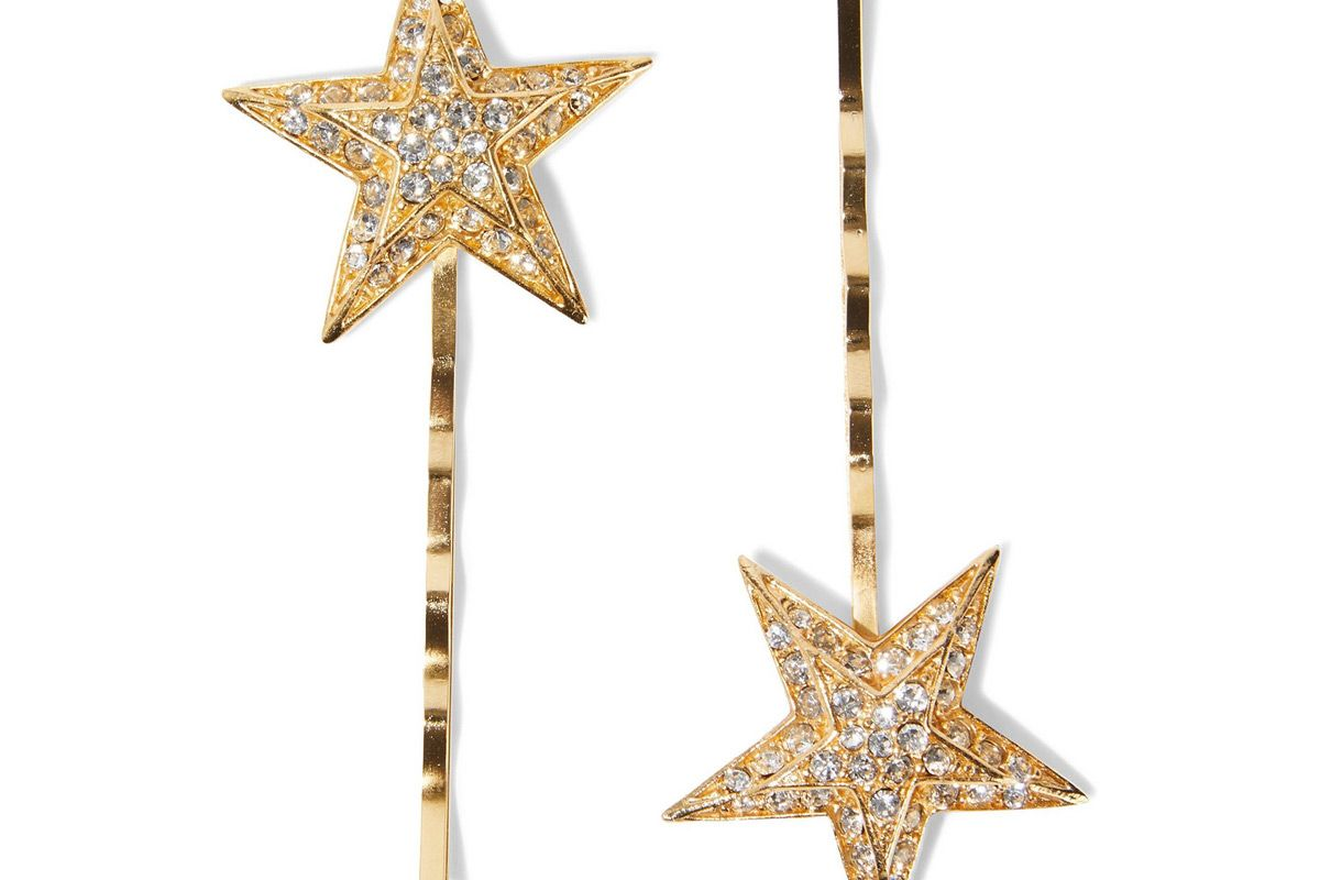 ben amun set of two 24 karat gold plated swarovski crystal hair slides