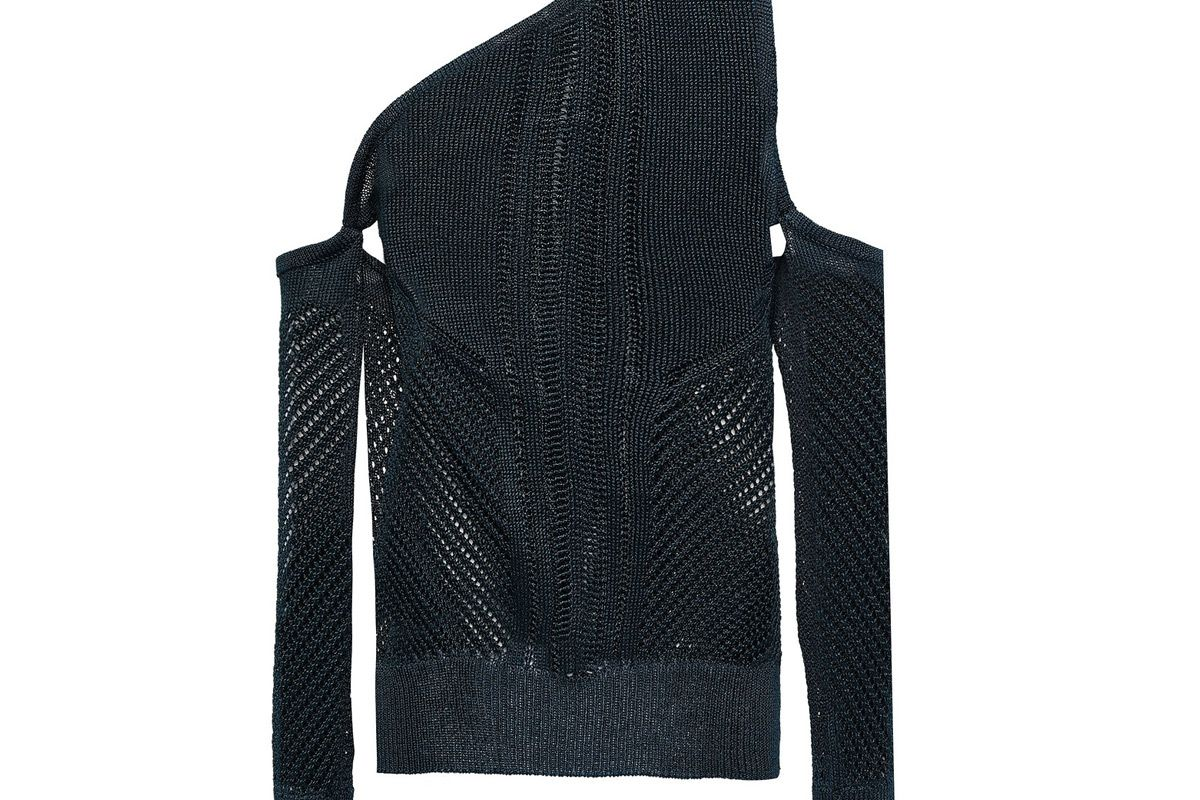 cushnie one shoulder open knit top