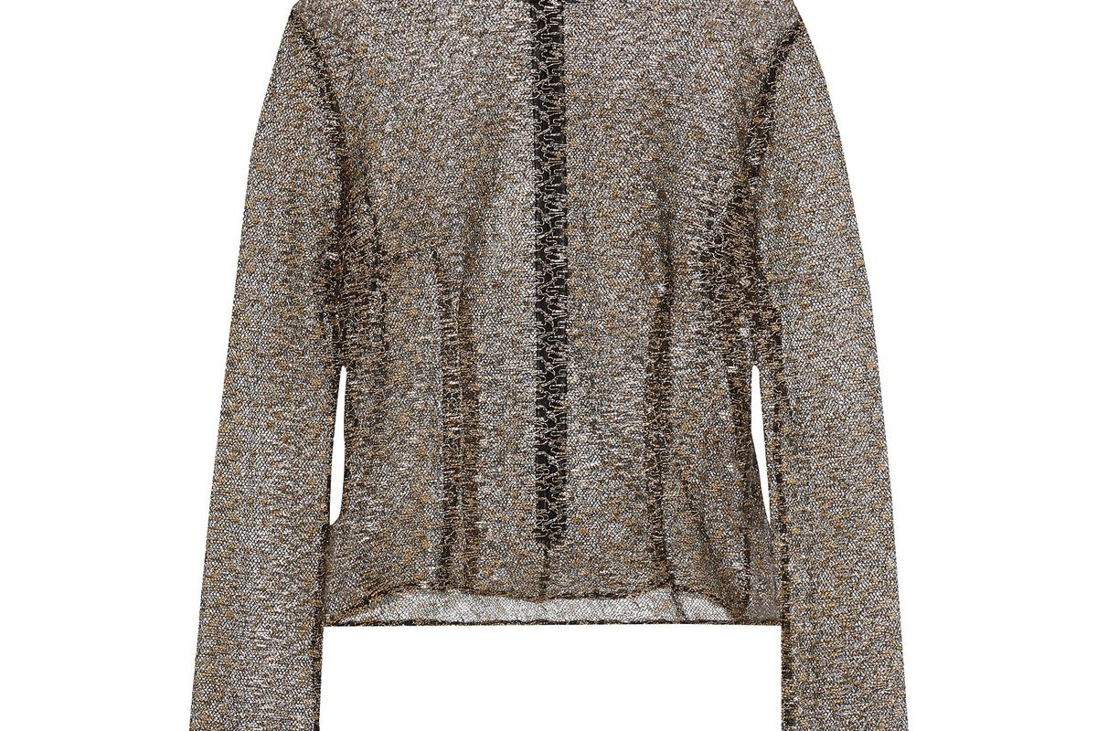 de la vali lucille metallic lace top