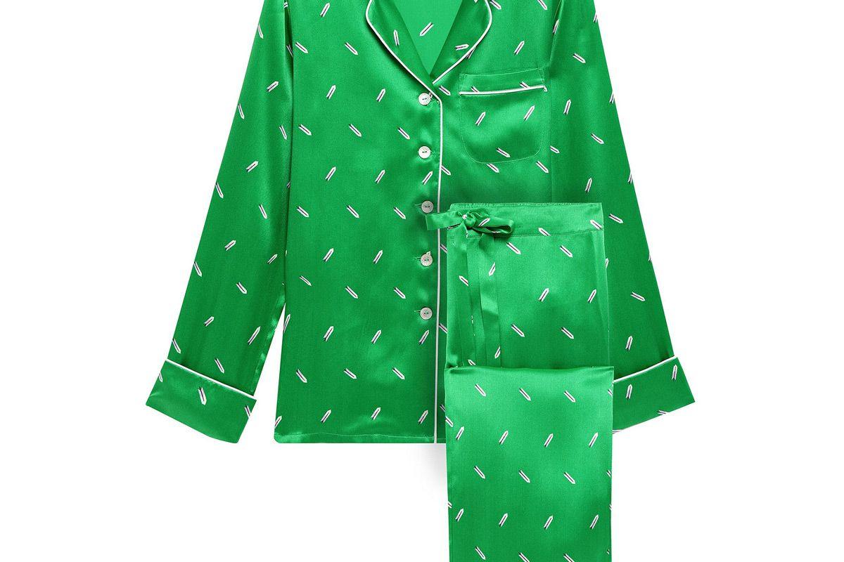oliva von halle lila printed silk charmeuse pajama set
