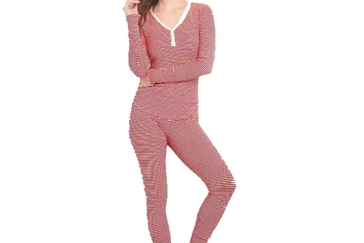 Striped Ribbed Pajama Set