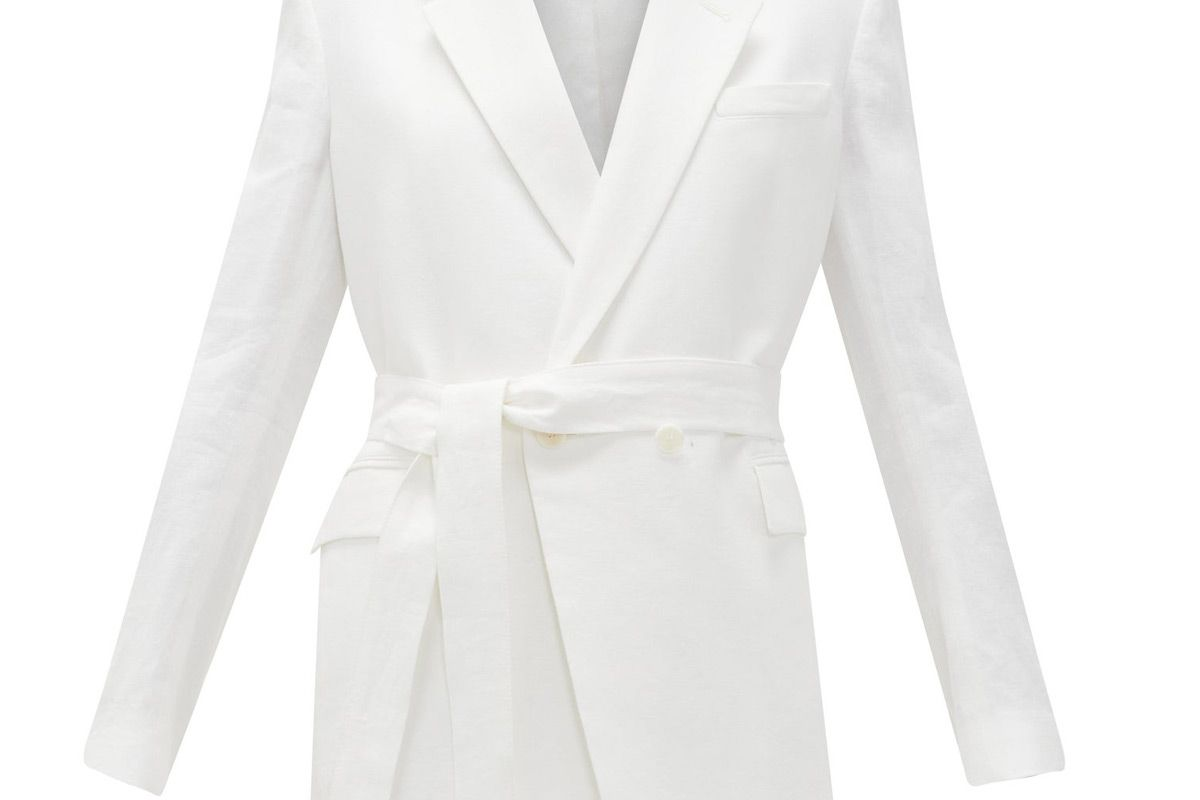 another tomorrow double breasted belted organic linen jacket