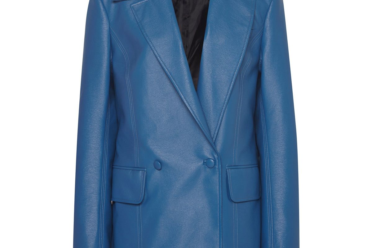 material oversized faux leather blazer