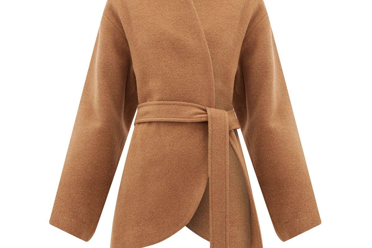 raey collarless belted camel hair coat
