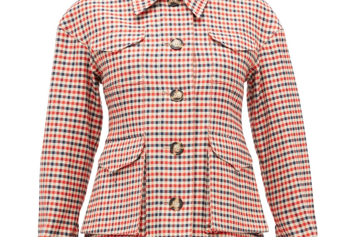 wales bonner military checked wool blend jacket