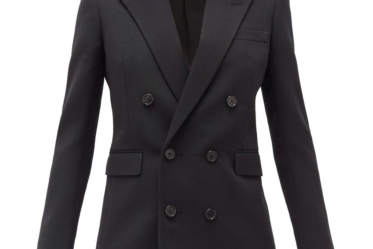 saint laurent double breasted wool faille blazer