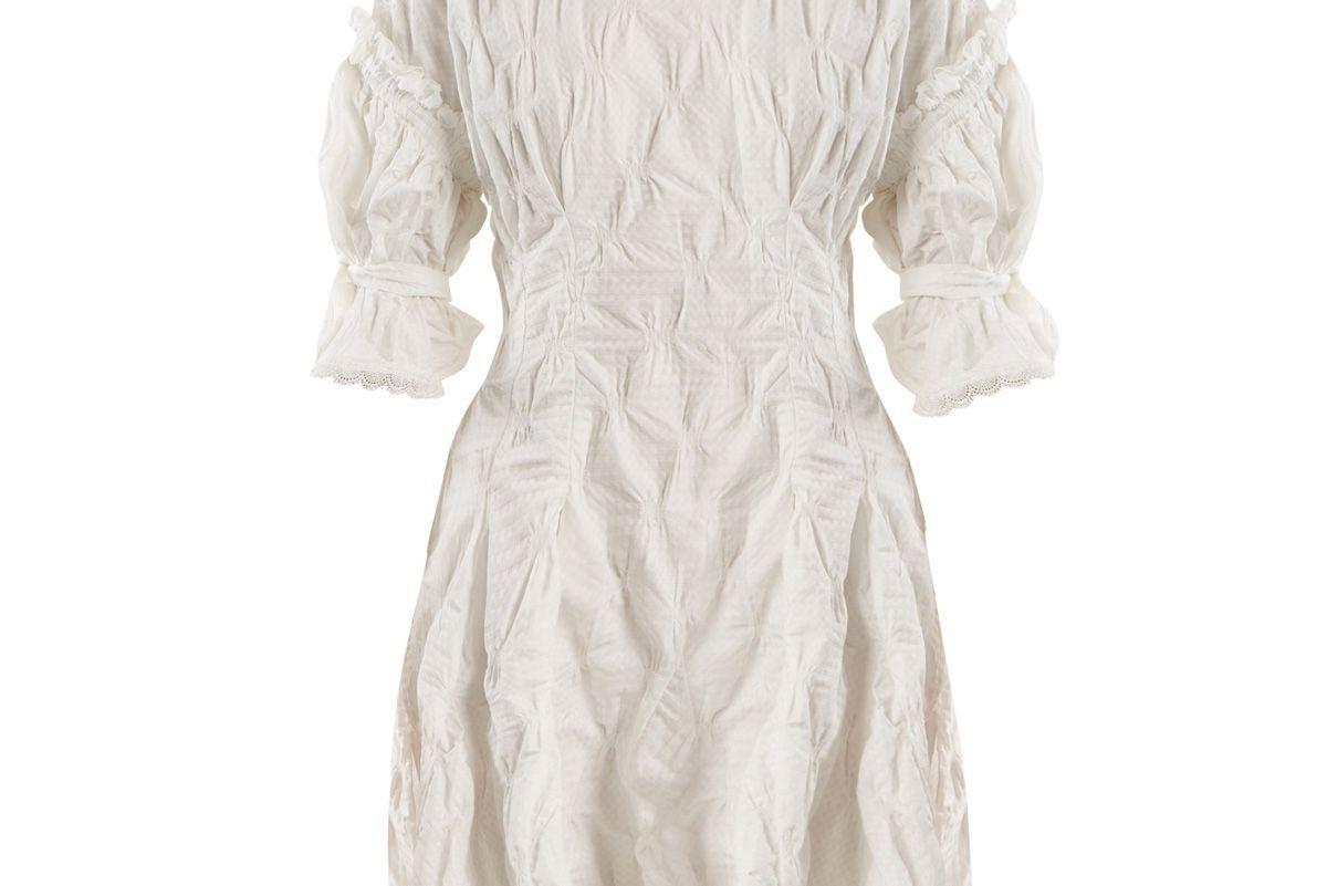 jonathan simkhai lace trimmed smocked gingham jacquard dress