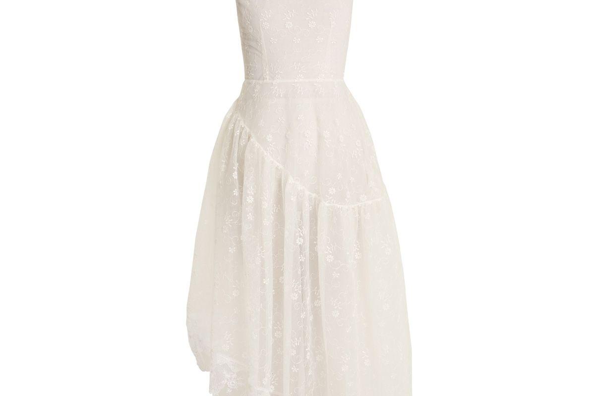 simone rocha asymmetric hem floral lace dress