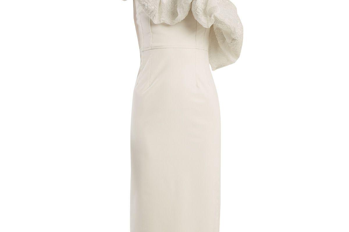emilio de la morena one shoulder floral brocade dress