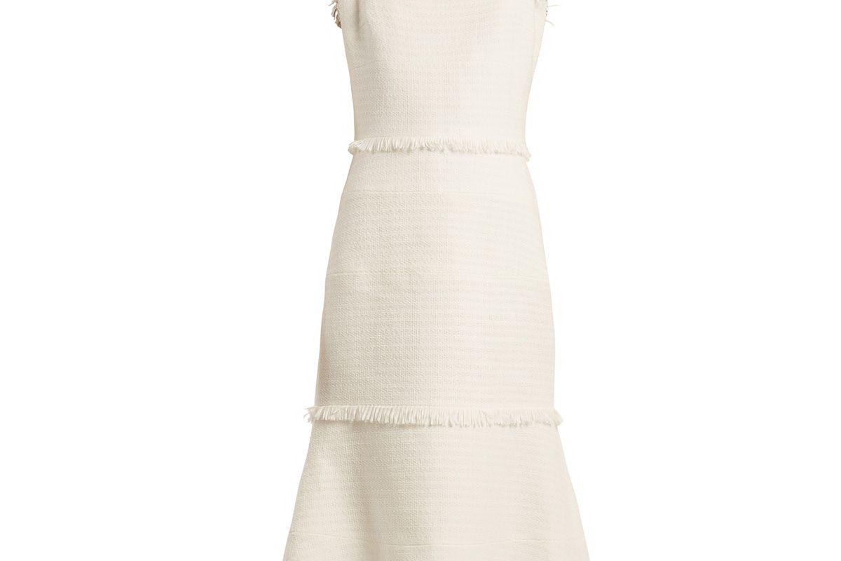 oscar de la renta fringe trimmed sleeveless tweed dress